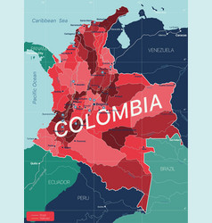 Columbia country detailed editable map vector