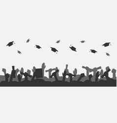 crowd graduates throws up academic caps vector image