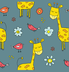 cute giraffe seamless pattern cartoon hand drawn vector image