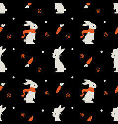 cute rabbit bunny seamless pattern with carrot on vector image