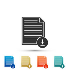 document with download sign file document symbol vector image