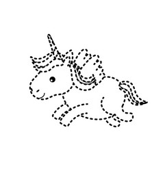 Dotted shape cute unicorn with horn and wings vector