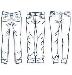 Drawing blue jeans outline Jean mens jean vector image