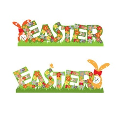 Easter flowers text and rabbits vector