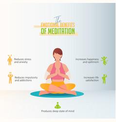 emotional benefits meditation infographic vector image