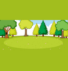 empty park landscape scene with many trees vector image