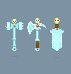 Fantasy weapons set battle-ax poleax battle vector