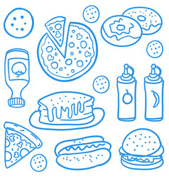 Fast food collection of doodles vector