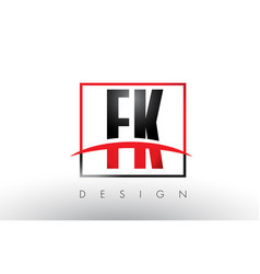 fk f k logo letters with red and black colors and vector image