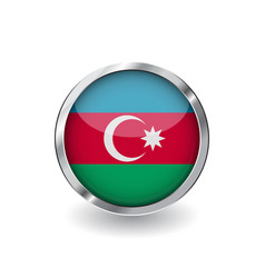 flag of azerbaijan button with metal frame and vector image