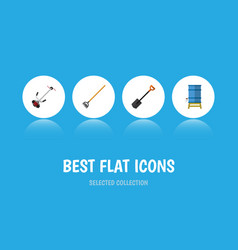 Flat icon dacha set of tool grass-cutter vector
