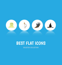 flat icon festival set of witch cap zombie vector image