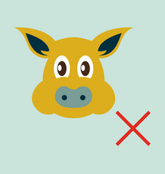 Flat icon of pig in graphic style hand drawing vector