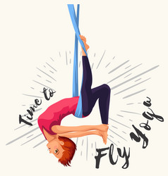 Fly yoga flat poster with girl in sportswear doing vector