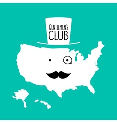 Fun moustache club flat cartoon America map vector image