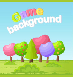 game background concept with low poly trees vector image