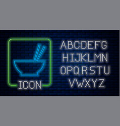 Glowing neon bowl with asian food and pair of vector