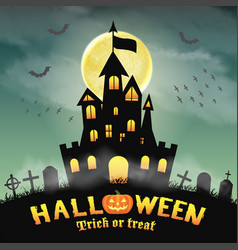 halloween silhouette castle in a night graveyard vector image