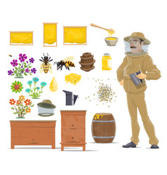 Honey bee honeycomb beehive and beekeeper icon vector