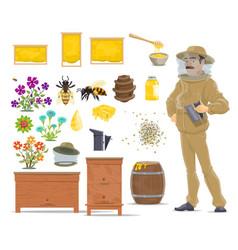 honey bee honeycomb beehive and beekeeper icon vector image
