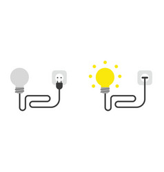 Icon set light bulb with cable plug and vector
