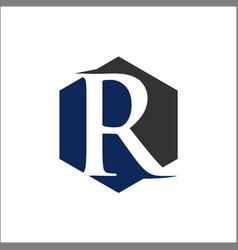 initial r hexagon shape logo vector image