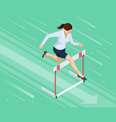 Isometric business woman jumping over an obstacle vector