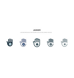 Jainism icon in different style two colored vector