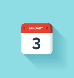 January 3 isometric calendar icon with shadow vector