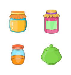 jar icon set cartoon style vector image