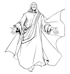 Jesus open arms line art vector