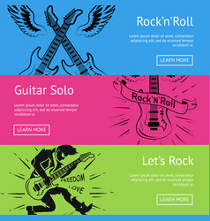 let s rock n roll guitar solo set posters vector image
