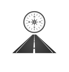 Logo of a minimalistic road with a roadside and a vector
