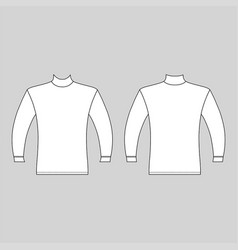 Long sleeve high collar t-shirt outlined template vector