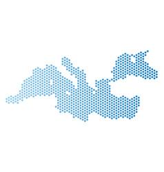 Mediterranean sea map hex tile mosaic vector