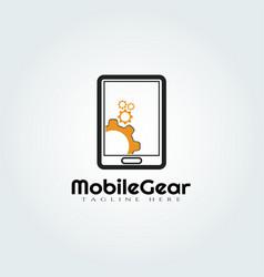 Mobile and gear logo designtechnology icon vector