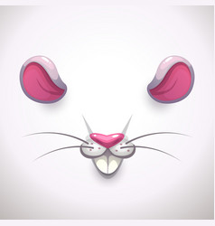 Mouse ears and nose video chat animal face effect vector