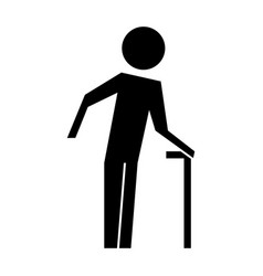 old man with cane silhouette vector image