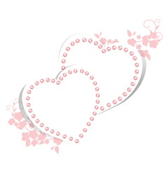 Pearl hearts with floral vector image