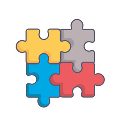 puzzle pieces game icon vector image