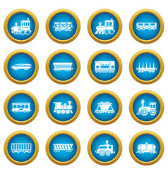 railway carriage icons set simple style vector image