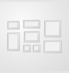 realistic detailed 3d white blank photo frames vector image