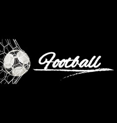 Realistic soccer ball in net isolated on black vector