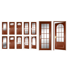 Realistic wooden door isolated or indonesian vector
