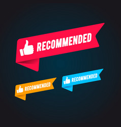 recommended flag set with thumbs up icon vector image
