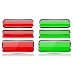red and green glass buttons with metal frame set vector image