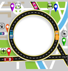 Road infographics city map with marks navigator vector
