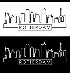 Rotterdam skyline linear style editable file vector