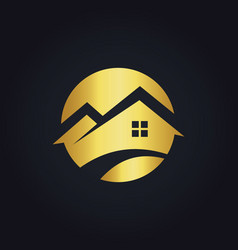 Round house icon gold logo vector