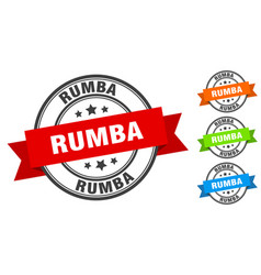 Rumba stamp round band sign set label vector